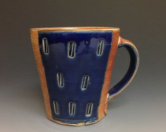 Blue Coffee Mug with Panels.  Rope Impressed and Stamped Decoration.  Soda Fired Stoneware Pottery