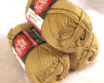 Red Heart Soft WHEAT yarn, medium worsted weight yarn, light gold, tan, yellow