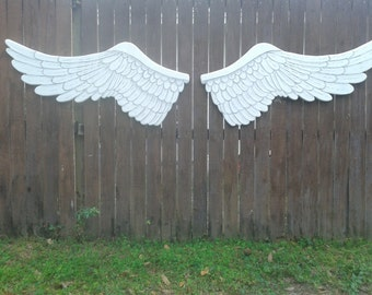 Giant Wooden Carved Distressed Angel Wings White Grey and Silvery Pearl Glaze in Elizabeth 7ft 8in Wide