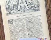 A through Z Antique French Dictionary Pages Collage, Scrapbook and Planner Kit Number 2136