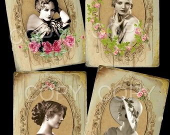 Instant download - Vintage Ladies - 3.5  X 5 inches -  Printable Digital Collage Sheet - Digital Download-  Romantic - Ephemera