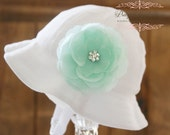 SALE Baby Girl Sun Hat - Easter Bonnet - Bucket Hat - (Removeable) Mint Aqua Flower Clip With White Sun Hat- Fits (Your Pick Size)