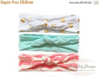 SALE Set of Three Baby Knot Headband - Toddler Headwrap - Baby Top Knot Head Wrap - Turban Headband - Fabric Baby Headband