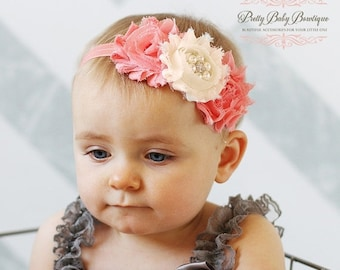 SALE Coral Baby Headband..Newborn Headband..Vintage Inspired Double Frayed Coral  and Cream Headband..Infant Headband....Baby Headbands
