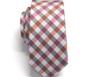 Neckties Gray Raspberry Fuchsia Orange Checkers Mens Skinny Ties