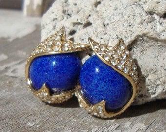 Vintage Ciner Earrings Blue Glass Lapis Lazuli Rhinestone Cocktail