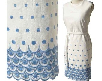 Vintage 60s Dress Mod Polka Dot Blue & White Summer Cotton Matelasse M