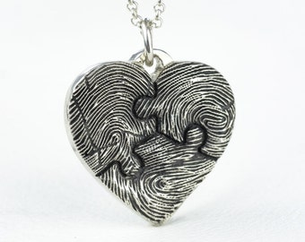 Fingerprint Heart Necklace Puzzle Piece Personalized Sterling Silver Mothers Day Jewelry