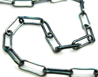 Oxidized Chain-Sterling Silver Chain,Unfinished Bulk Chain,Rectangle Chain Link-Long Box Chain-Jewelry Making Supplies(3 feet) SKU: 101002X