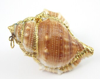 Nature Fighting Conch Shell Pendant, Large Necklace Pendant, Gold wrapped Pendant, Natural Shaded Conch Shell with Gold Wrapping-SKU: 292059