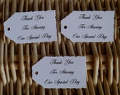 """10 x white thank you for sharing our special day. deckle edge tags 2.1/4"""". x1.1/4"""" gifts,wedding,favors,party"""