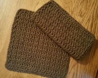 Crochet Cotton Dishcloth set of 2 in Chocolate