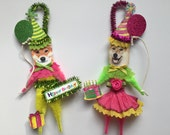 Shiba Inu BIRTHDAY ornaments DOG ornaments vintage style chenille ORNAMENTS set of 2