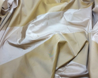 SALE Beige & GOLD Satin Stripe Silk TAFFETA Fabric - 1 Yard
