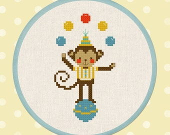 Cute Jugglin Monkey. Circus Modern Simple Cute Counted Cross Stitch Pattern PDF Instant Download
