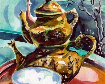 Painting of Turkish Tea Kettle - Watercolor and Ink Original Art by Jen Tracy - Decoration for a Tea Room