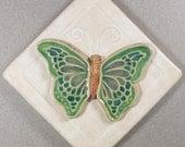 Butterfly Tile ~ 4 x 4 inch Ceramic Stoneware ~ Garden Tile ~ Accent Tile ~ White ~ Green