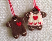 Christmas Gingerbread boy and girl felt ornaments.