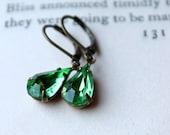 Peridot Green, Rhinestone Earrings, Vintage Glass Jewel, Dangle Earrings