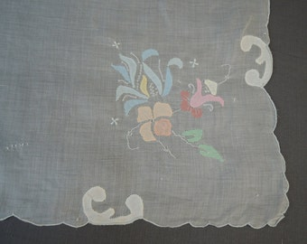 Vintage Small Tablecloth Topper Organdy with Pastel Appliques, 33 x 34 inches, Handmade Linens