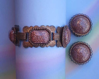 Vintage 50s Bracelet Earrings Copper Confetti Glass Cabochon