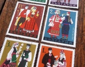 Folk costumes - regional folk dress - Bulgarian folk costume stamp set - vintage stamps - postage stamp ephemera