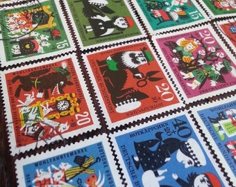 Grimm fairytale stamp sets - German - Brothers Grimm  - postage stamp ephemera