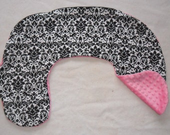 Black Damask and Pink Minky Dot Nursing Pillow Cover Fits Boppy CHOICE OF MINKY