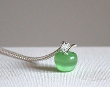 Green opal apple necklace cat eye Valentine gift for her Gemstone pendant necklace silver plated jewelry jewellery Birthday gift for her