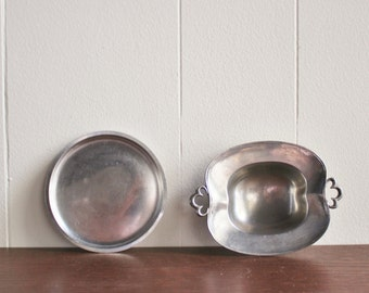 "Pair of vintage pewter dishes, made in Denmark, ""JUST DANMARK"""