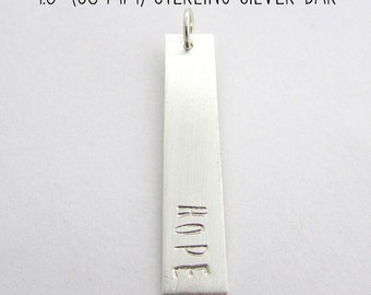 "Silver Bar Charm | Personalized Long 1.5"" (38 mm) Pendant 