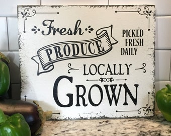 FRESH PRODUCE, Produce Sign, Locally Grown, Fixer Upper Style Sign, Eggs, Grocery Sign, Kitchen Sign, 10 x 12 or 14 x 16