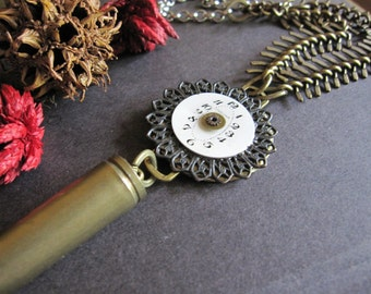 OOAK Bullet Necklace, Bullet Casing, Steampunk Necklace, Watch Face, Cosplay Accessory, Vintage Watch Parts, Long, Gothic Jewelry, Rocker