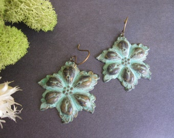 Statement Earrings, Bold Flower Earrings, Verdigris Green Blue, Bohemian Earrings, Boho Jewelry, Nature Inspired, Large, Lightweight, Patina