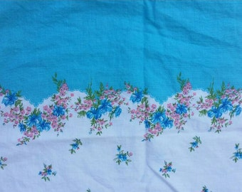 Vintage Lot/Set of 2 Aqua Blue Border with Pink and Blue Flowers with Green Leaves Feed Sacks Pillowcase Pillow case - feedsacks feed sacks