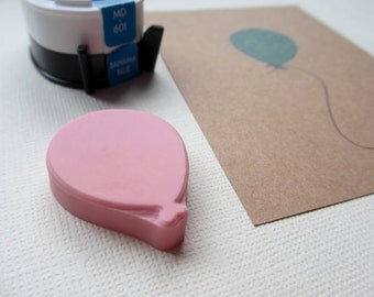One Balloon - Hand Carved Rubber Stamp