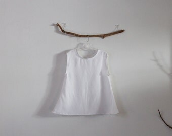 ready to wear size S simple wavy white linen top
