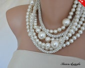 Sale -  Bold Chunky Ivory Pearl Necklace, Rhinestone chain,Pearl Necklace, Bridal Necklace, Pearl Jewellery, Statement Necklace, Wedding Nec