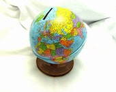 Vintage 1960's Metal World Globe Savings Bank, The Ohio Art Co., Made In USA