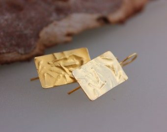 Gold rectangle earrings, Gold textured earrings, Gols dangle earrings, 24K gold drop earrings, Handmade gold earrings