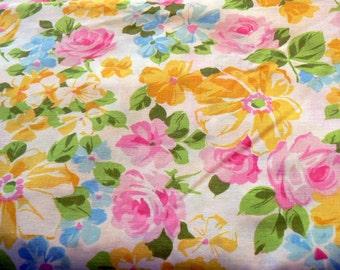 Vintage Floral Flat Sheet Bright Yellows Pinks Blues