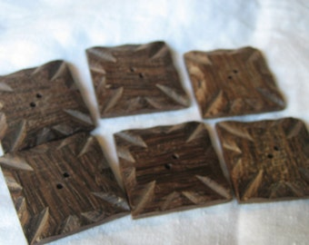 Set of 6 VINTAGE Large Square Carved Wood Sew Thru BUTTONS
