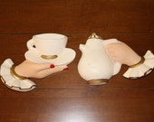 Pair Vintage Tea Cup and Teapot 1950s Hand Painted Plaster Kitchen Wall Hanging Decor