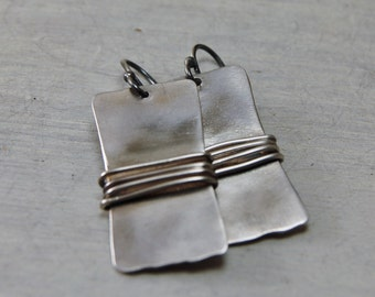 Rustic Modern Sterling Silver Wrapped Earrings Oxidized Earrings