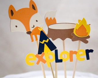 Fox theme cake topper