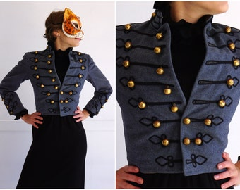 Vintage 50s Blue Gray Wool Band Leader Officer Jacket with Black Details and Gold Bauble Buttons | Small