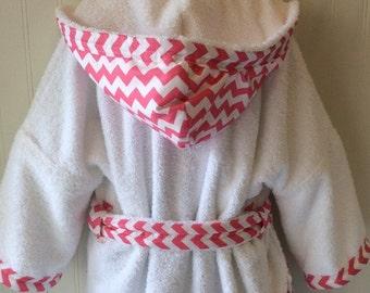 Child Robes-Girls-Bath-Girl-Robe-Pink-Chevron-Stripes-Sweet-Dreams-Children-Beach-Sleepwear-Hooded-Swim-Suit-Terry-Cover Up-Baby&Kids-2-6
