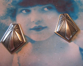 Sterling Silver Ox Plated Art Deco Style Brass Stamping Pendants 278SOX x2