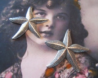 Sterling Silver Ox Plated Brass Starfish Charms 217SOX  x2