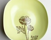 one large organic bowl in sunny mustard glaze with cosmos